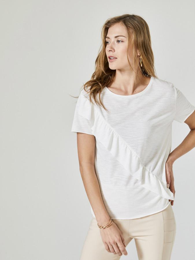 XINT - Xint Yuvarlak Yaka Fırfır Detaylı Bluz