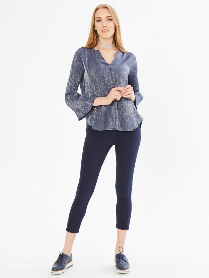 XINT - Xint Yuvarlak Yaka Kolları Volanlı Bluz