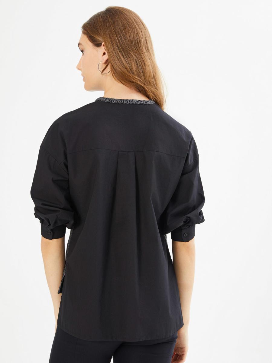 Xint Yuvarlak Yaka Önü Örme Kumaşlı Truvakar Kol Bluz