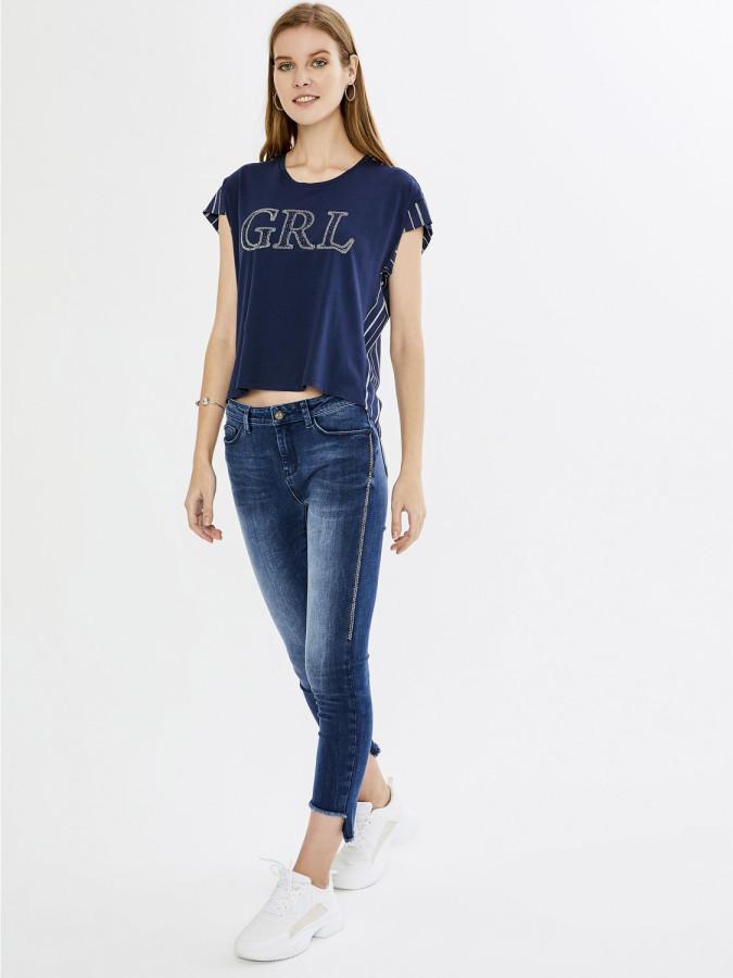 XINT - Xint Yuvarlak Yaka Taş İşlemeli Bluz (1)