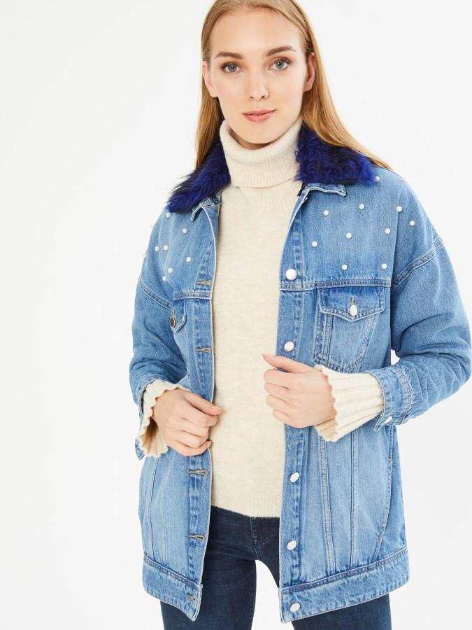 XINT - Xint Yakası Kürk Detaylı İncili Boyfriend Kot Ceket