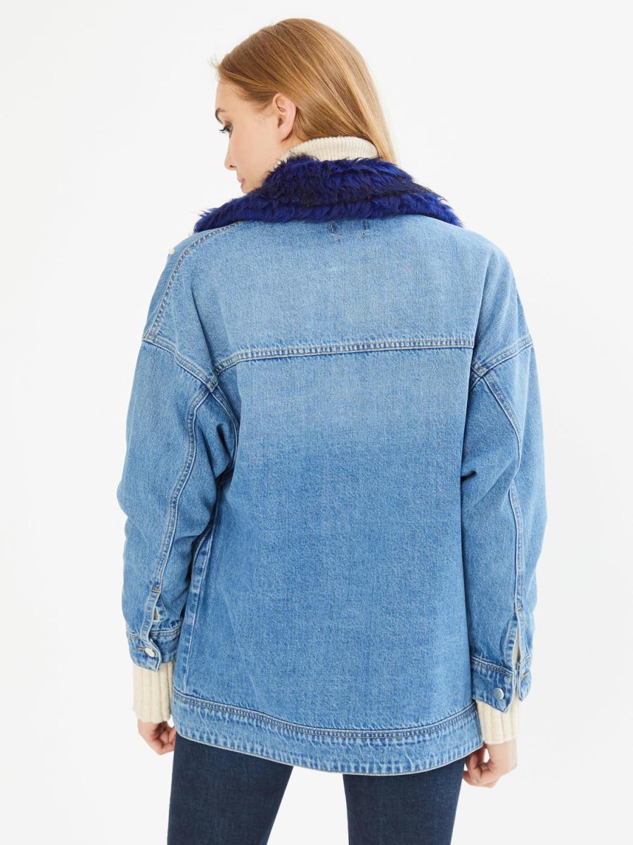 Xint Yakası Kürk Detaylı İncili Boyfriend Kot Ceket