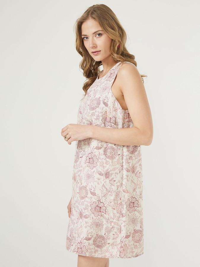 XINT - Xint Açık V Yaka Desenli Elbise (1)