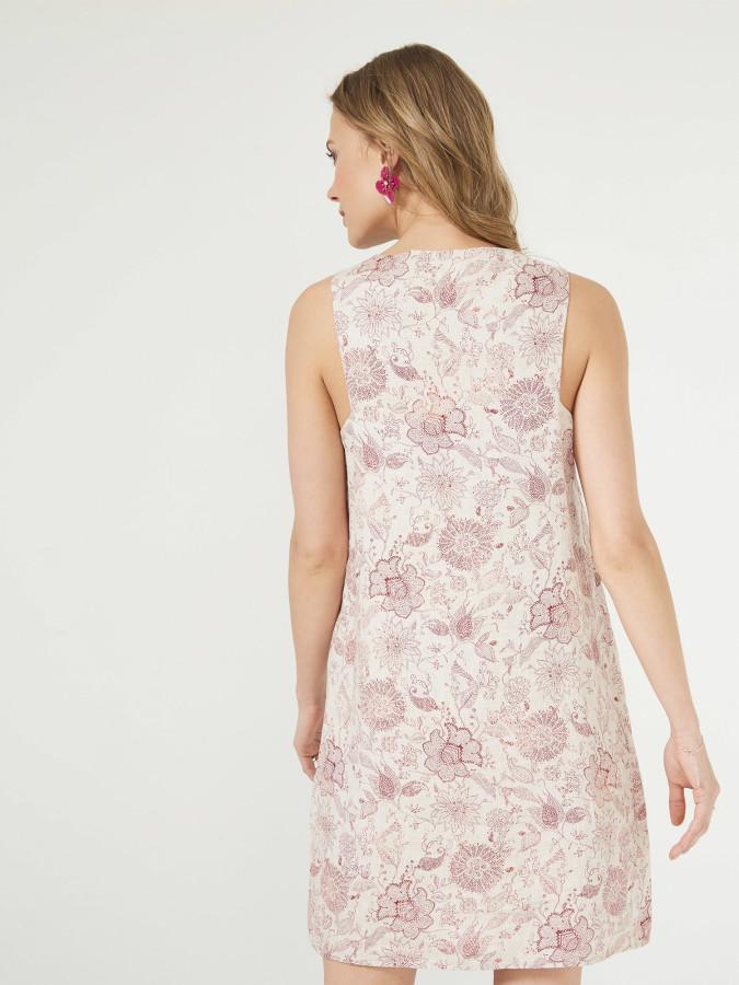 Xint Açık V Yaka Desenli Elbise - Thumbnail