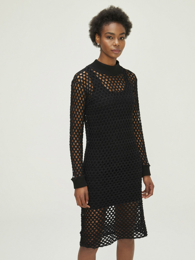 XINT - Xint Dik Yaka Fileli Elbise (1)