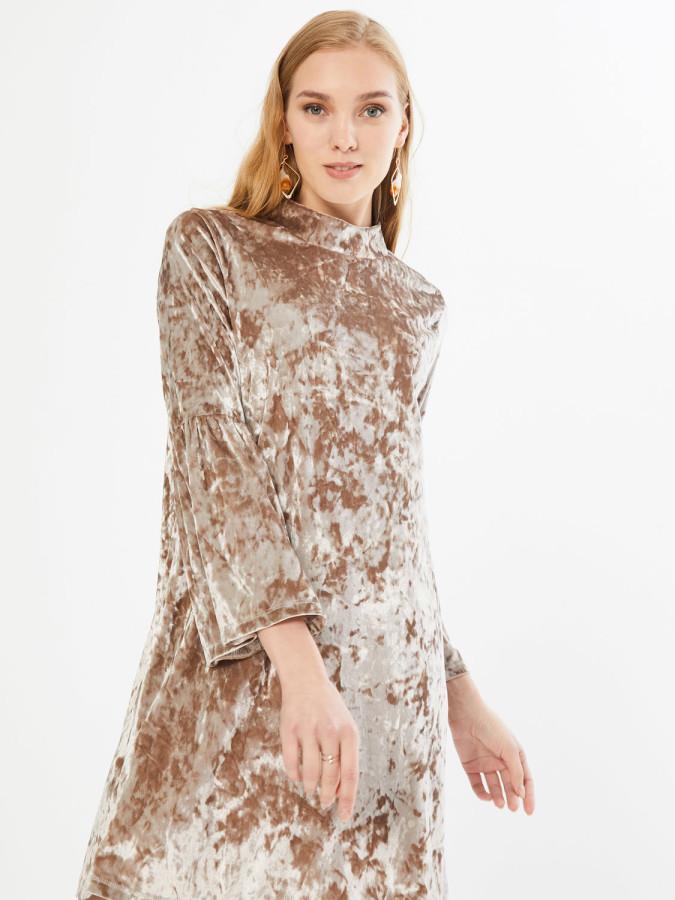 XINT - Xint Dik Yaka Kolları Volanlı Diz Üstü Elbise (1)