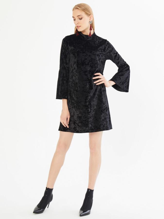 XINT - Xint Dik Yaka Kolları Volanlı Diz Üstü Elbise
