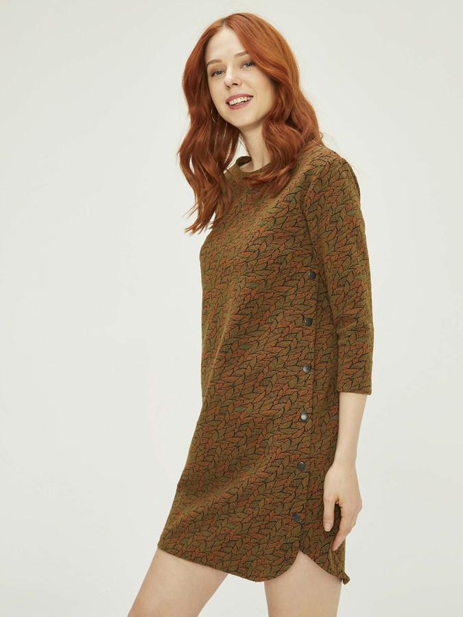 XINT - Xint Yuvarlak Yaka Truvakar Kollu Jakarlı Elbise (1)