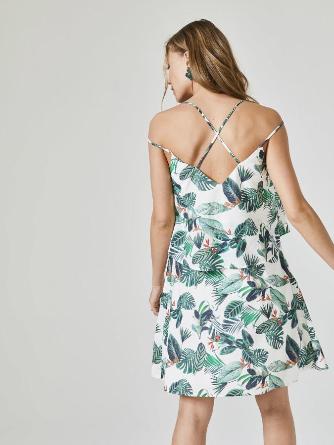 Xint İp Askılı Desenli Elbise - Thumbnail