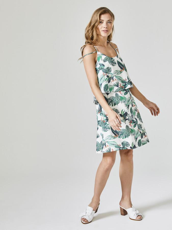 XINT - Xint İp Askılı Desenli Elbise