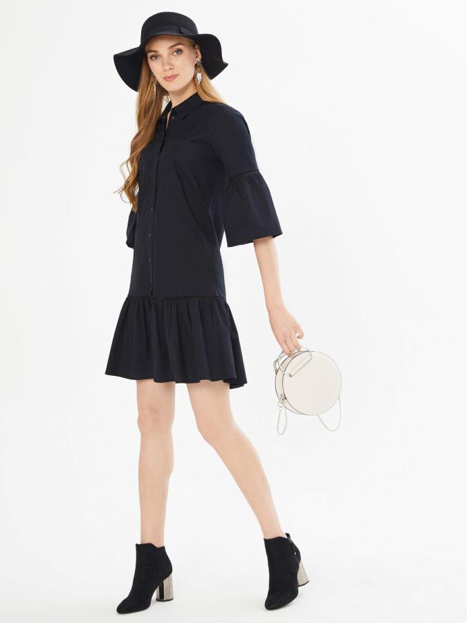 XINT - Xint Önden Düğme Kapamalı Piliseli Elbise