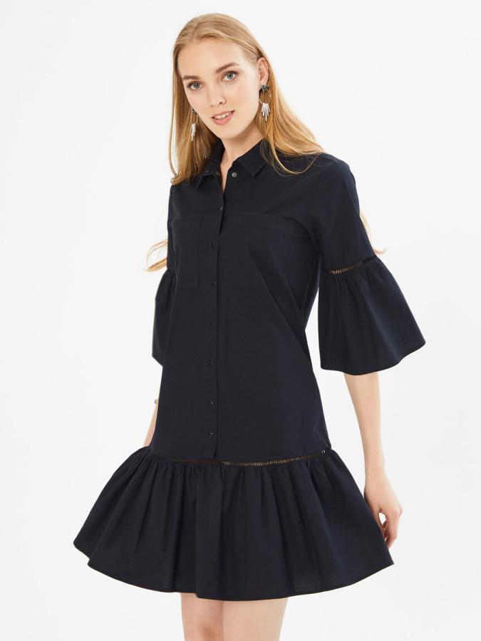 XINT - Xint Önden Düğme Kapamalı Piliseli Elbise (1)