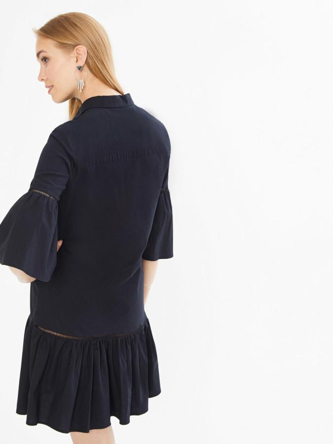 Xint Önden Düğme Kapamalı Piliseli Elbise - Thumbnail