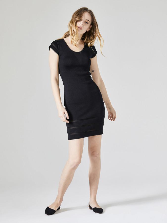 XINT - Xint Oval Yaka Transparan Detaylı Triko Elbise