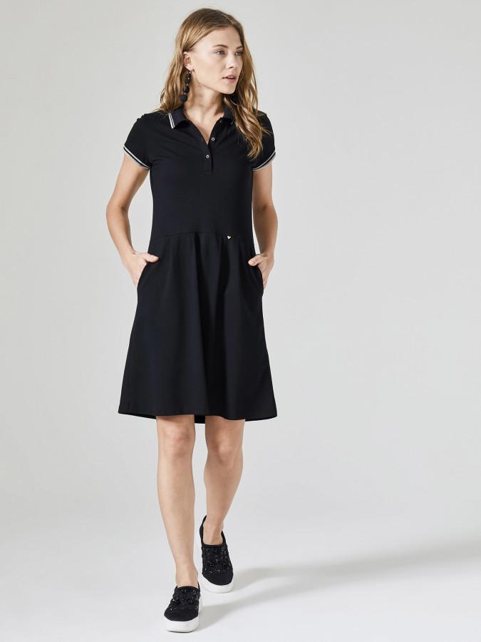 XINT - Xint Polo Yaka Kloş Cepli Elbise