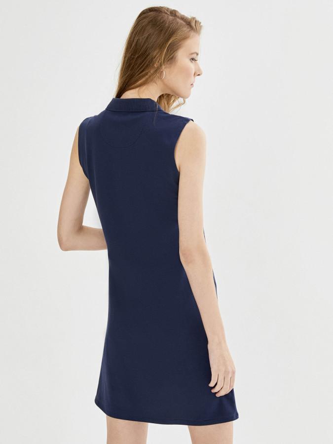 Xint Polo Yaka Kolsuz Basic Elbise - Thumbnail