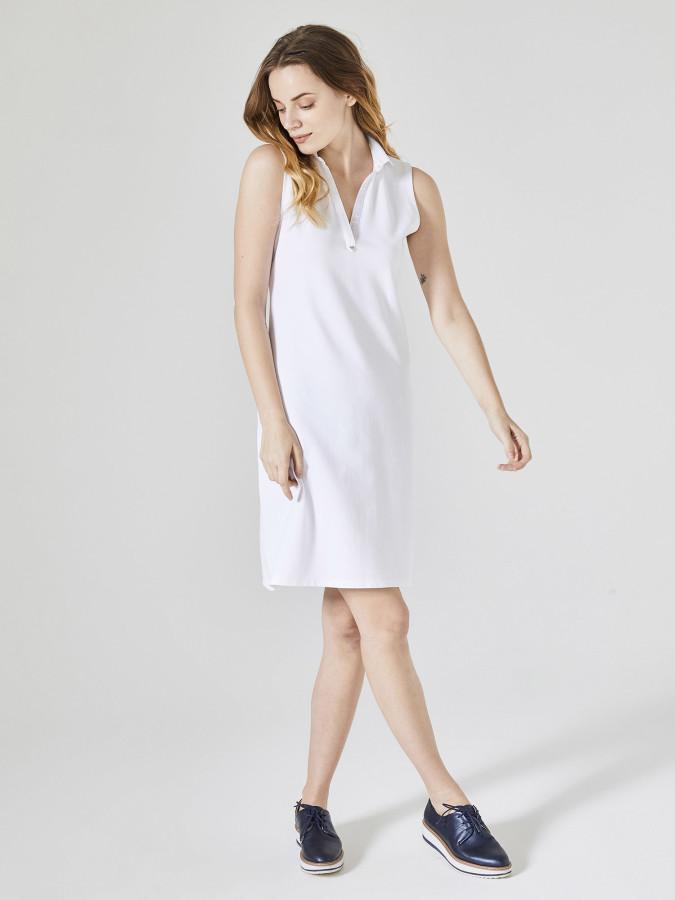 XINT - Xint Polo Yaka Sıfır Kollu Diz Üstü Elbise