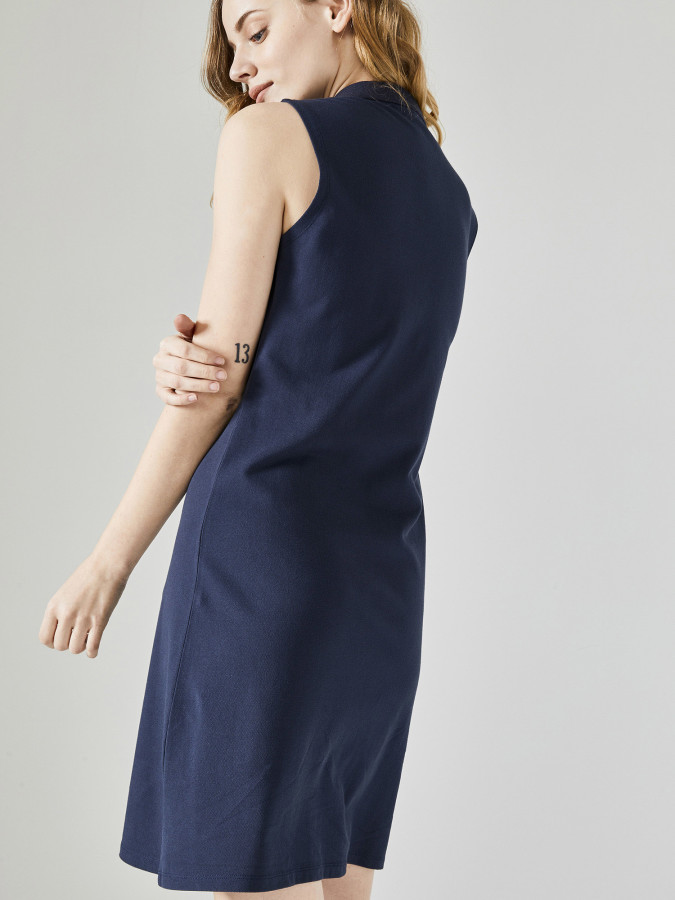Xint Polo Yaka Sıfır Kollu Diz Üstü Elbise - Thumbnail