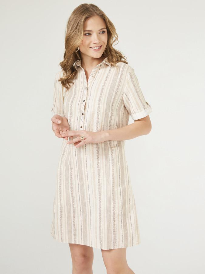XINT - Xint Rahat Kesim Kendinden Desenli Elbise (1)