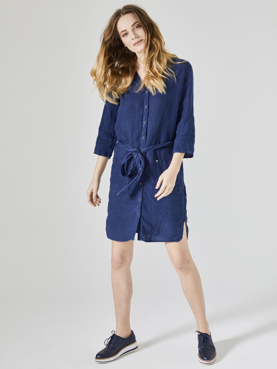 Xint V Yaka %100 Keten Elbise