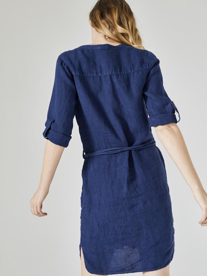 Xint V Yaka %100 Keten Elbise - Thumbnail