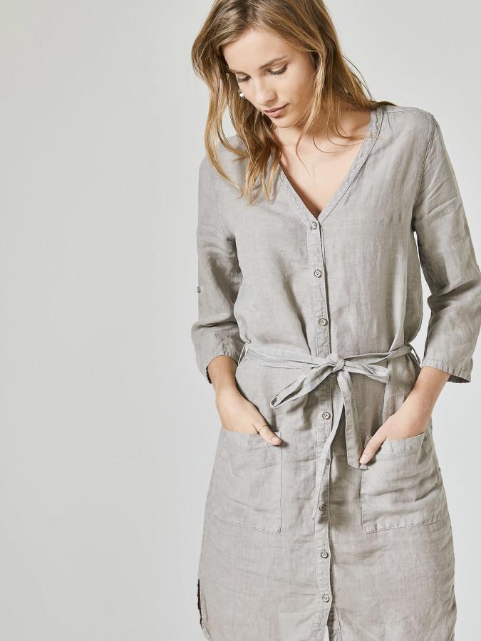 XINT - Xint V Yaka %100 Keten Elbise (1)