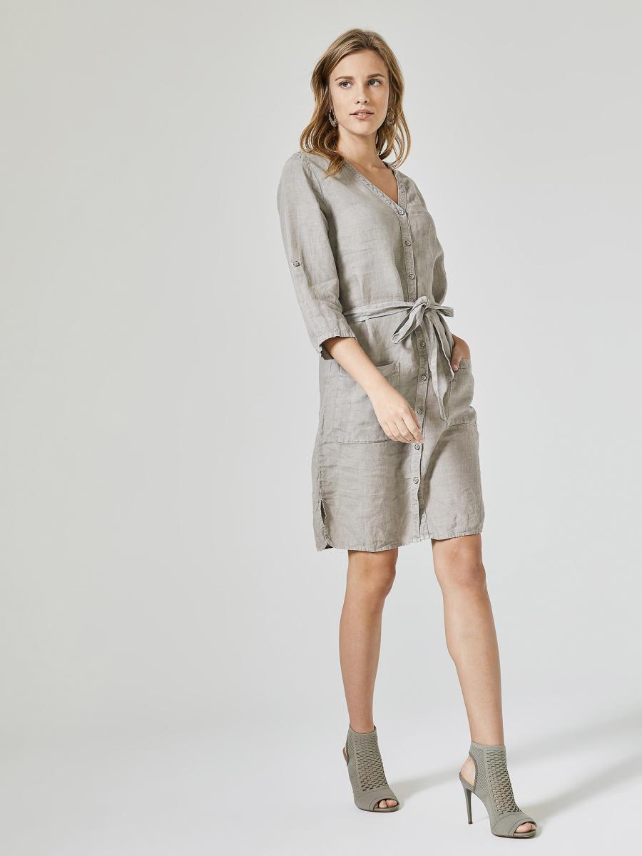 V Yaka %100 Keten Rahat Kesim Elbise