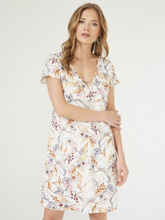 XINT - Xint V Yaka Çiçek Desenli Elbise (1)