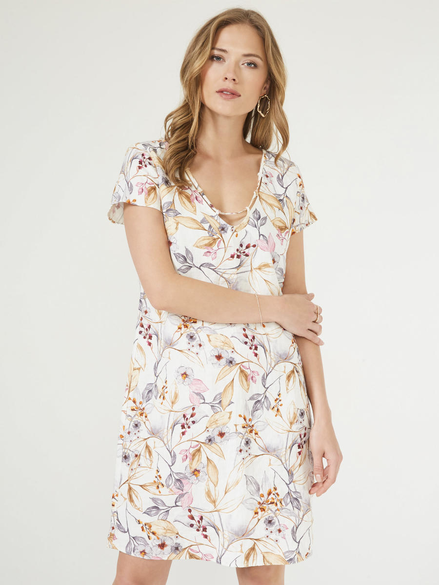 V Yaka Keten Rahat Kesim Desenli Elbise
