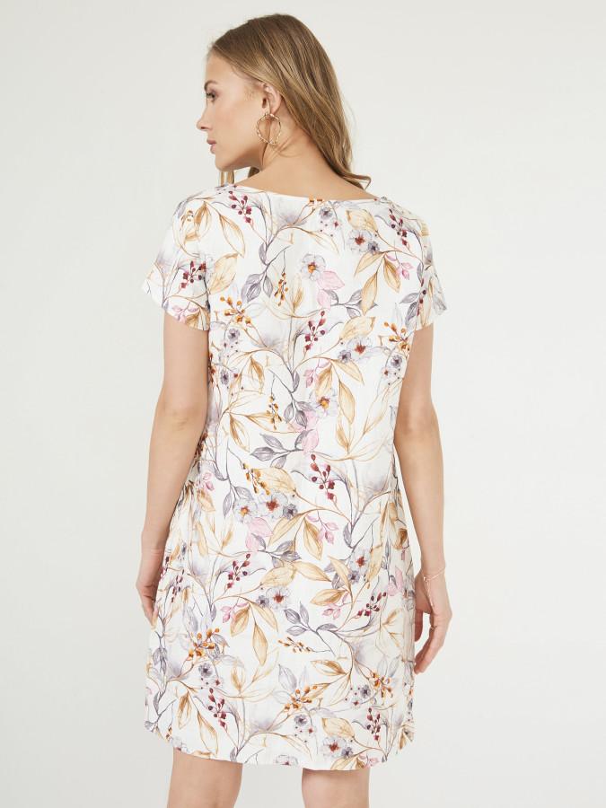 Xint V Yaka Çiçek Desenli Elbise - Thumbnail