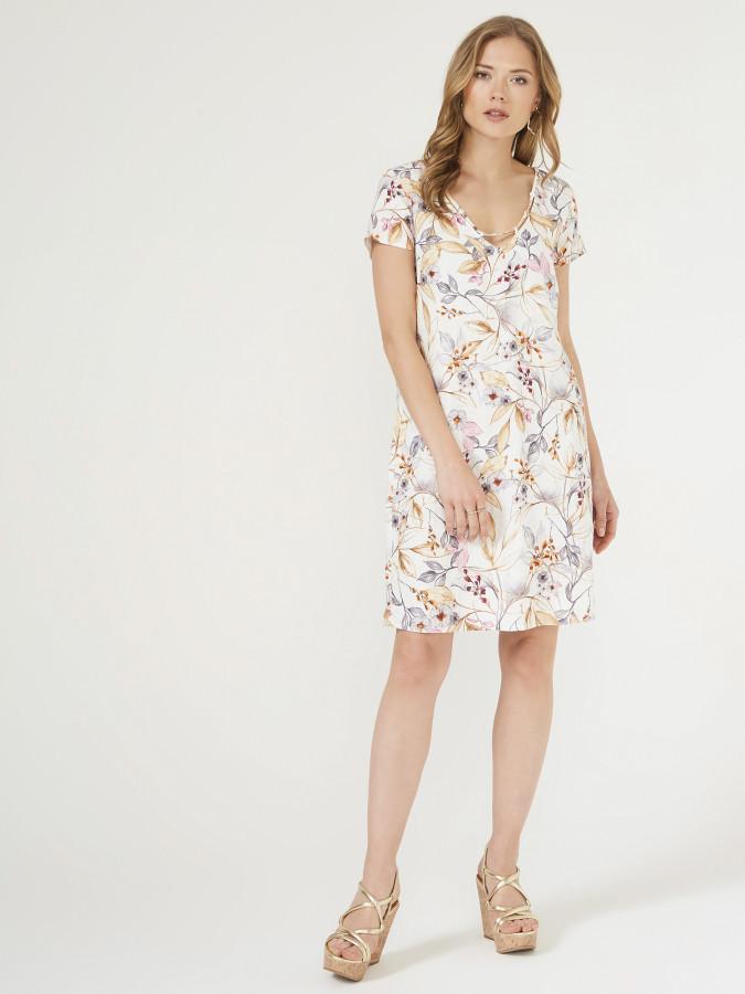 XINT - Xint V Yaka Çiçek Desenli Elbise