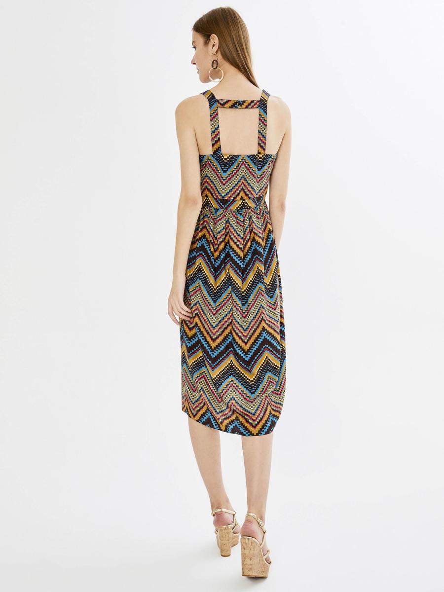 Xint V Yaka Desenli Midi Boy Elbise