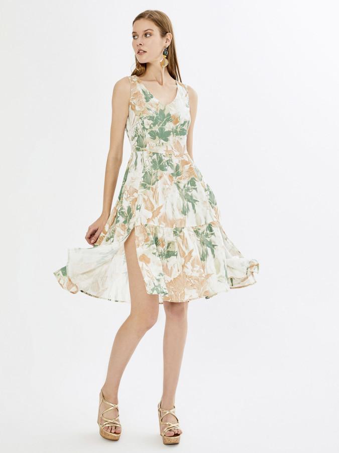 XINT - Xint V Yaka Desenli Yırtmaçlı Elbise (1)