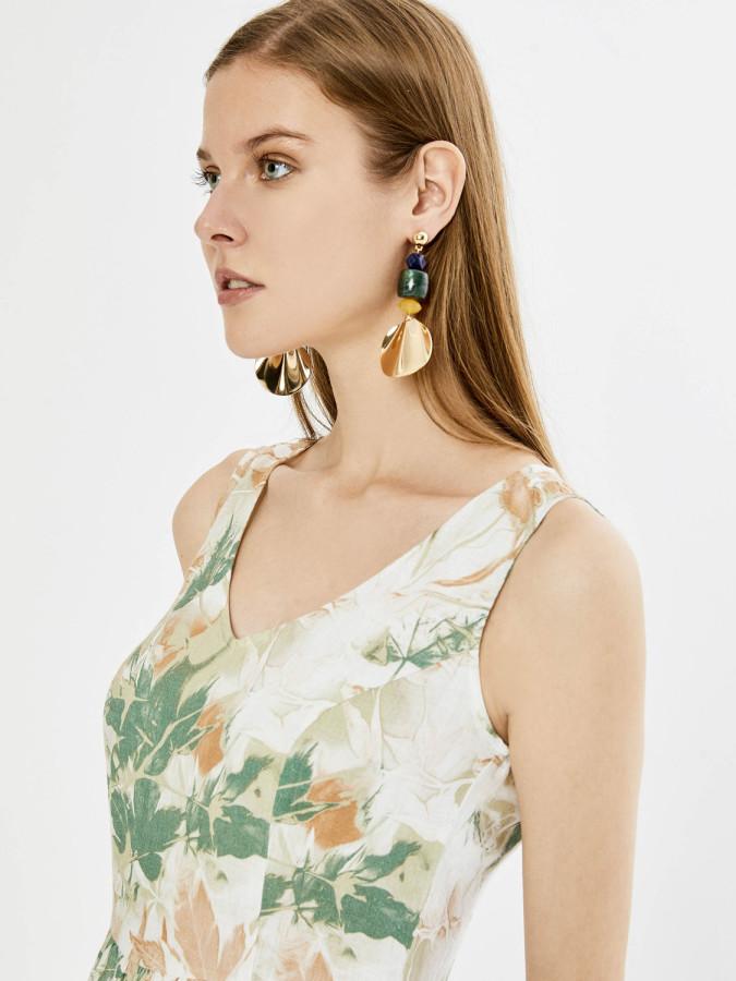 Xint V Yaka Desenli Yırtmaçlı Elbise - Thumbnail