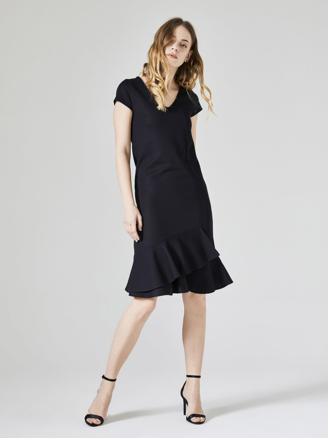 Xint V Yaka Eteği Volanlı Elbise - Thumbnail