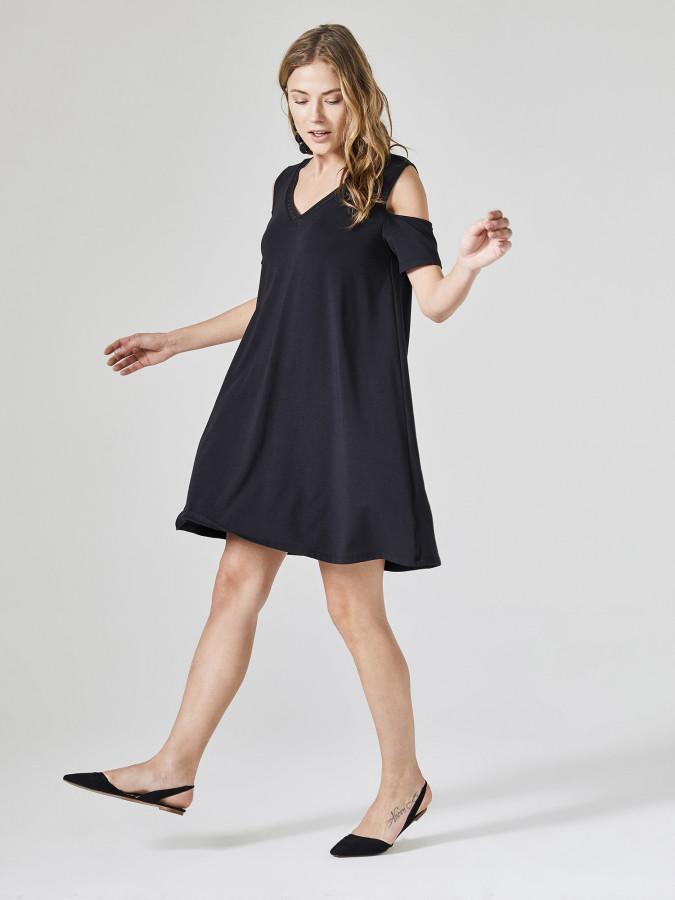 XINT - Xint V Yaka Kolu Yırtmaçlı Kloş Elbise
