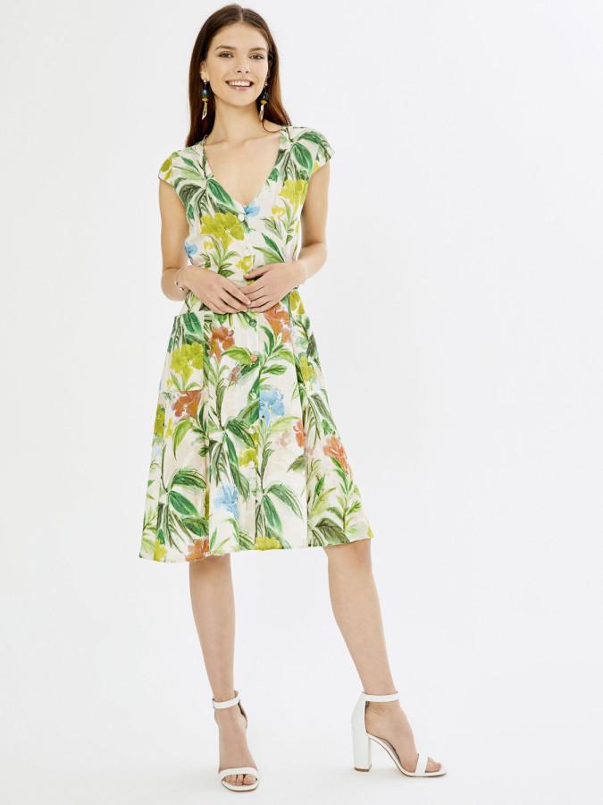 XINT - Xint V Yaka Önden Düğmeli Kendinden Desenli Elbise (1)