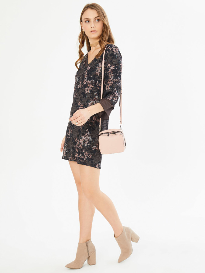 XINT - Xint V Yaka Şifon Garnili Elbise