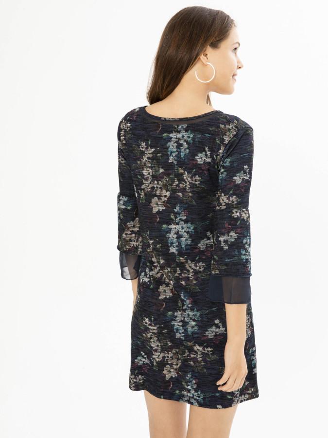XINT - Xint V Yaka Şifon Garnili Elbise (1)