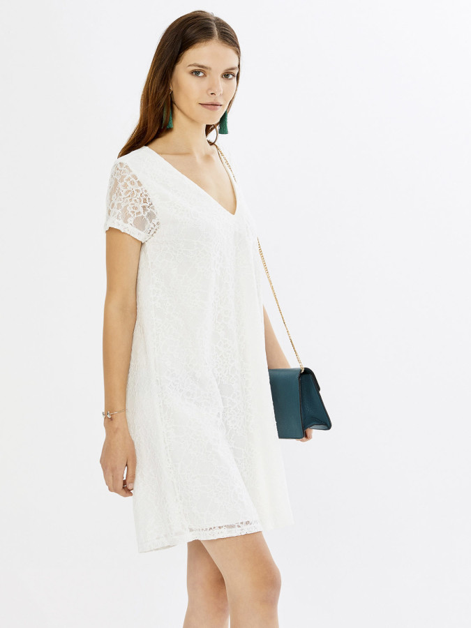 XINT - Xint V Yaka Üstü Dantelli İçi Astarlı Elbise (1)
