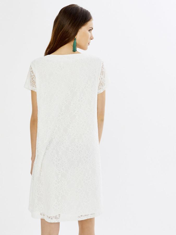 Xint V Yaka Üstü Dantelli İçi Astarlı Elbise - Thumbnail