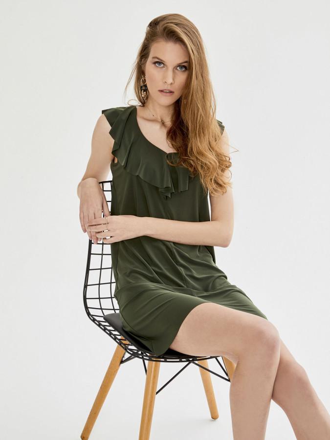 V Yaka Volanlı Yaka Kolsuz Mini Elbise