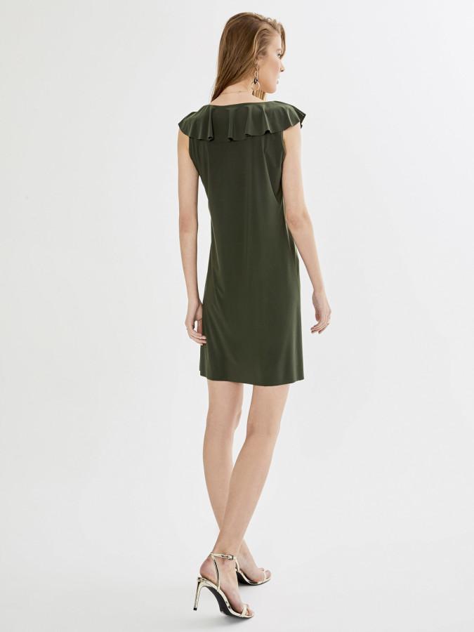 Xint Volanlı Yaka Kolsuz Mini Elbise - Thumbnail