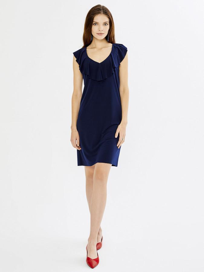 Xint Volanlı Yaka Kolsuz Mini Elbise