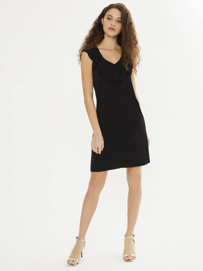 XINT - Xint Volanlı Yaka Kolsuz Mini Elbise (1)