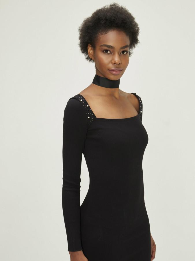 Xint Yakası İşlemeli Uzun Dar Elbise - Thumbnail