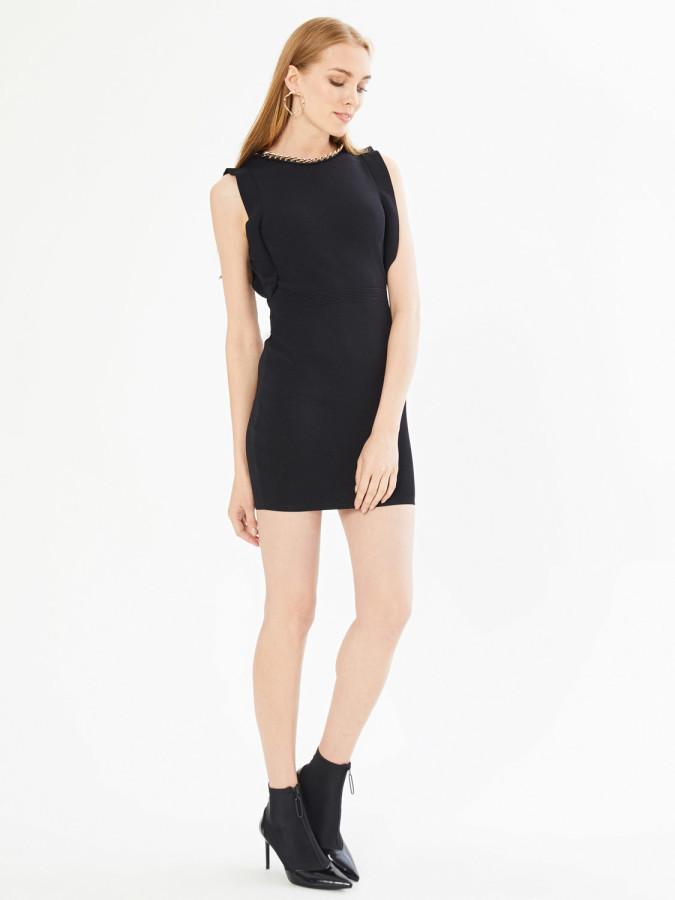 XINT - Xint Yakası Zincir Detaylı Kolsuz Triko Elbise