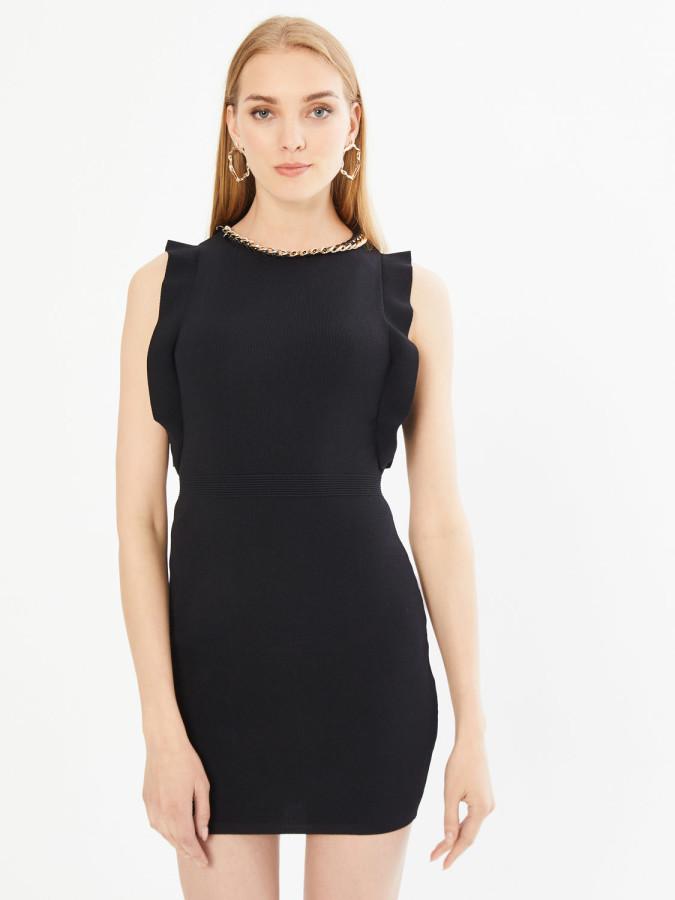 XINT - Xint Yakası Zincir Detaylı Kolsuz Triko Elbise (1)