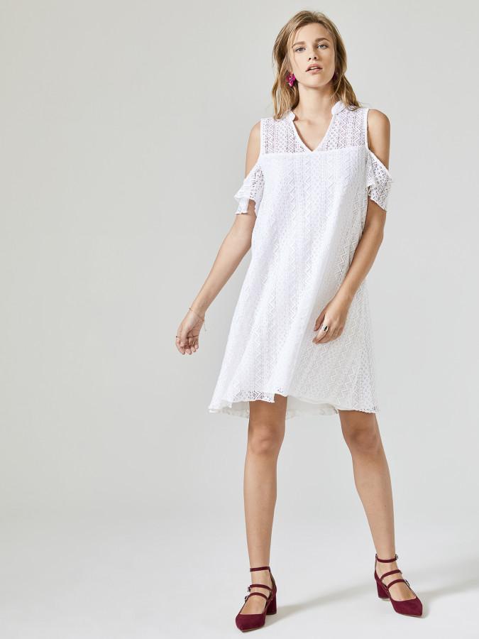 XINT - Xint Yarim Hakim Yaka Volanlı Elbise