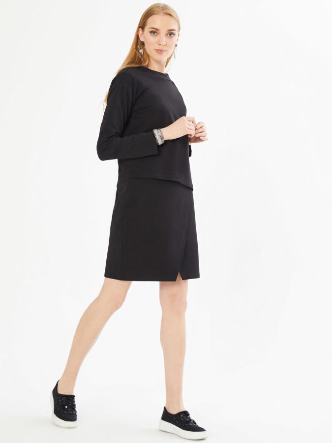XINT - Xint Yuvarlak Yaka Arkası V Şerit Detaylı Asimetrik Kesim Elbise